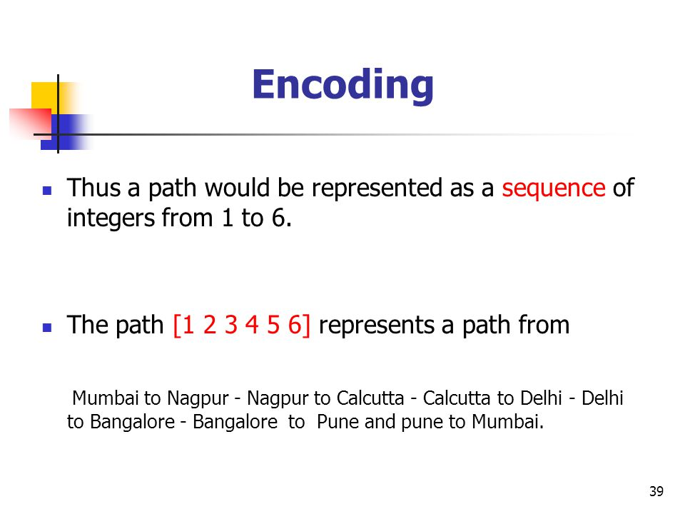 Encoding Thus a path would be represented as a sequence of integers from 1 to 6. The path [1 2 3 4 5 6] represents a path from.